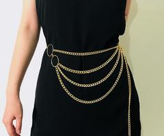 New style lady simple aluminum chain multi-layer exaggerated body chain street beat sexy waist chain gold one size