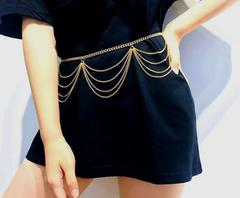 Retro wild wave body clothing chain Sexy simple multi-layer chain waist chain for woman gold one size