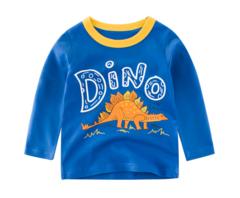 2019 new children's wear boy long-sleeved T-shirt dinosaur pattern long sleeve blue 90cm