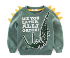 2019 children clothing children sweater cotton round neck long sleeve boy clothes children shirts green 90cm