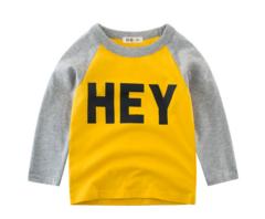 Children clothing new 2019 spring children T-shirt cotton baby long-sleeved shirt boys shirt INS hot yellow 90cm