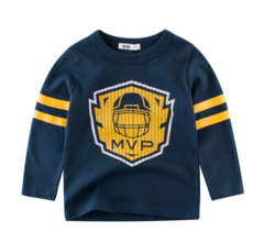 Children Wear 2019 Spring Children Long Sleeve T-Shirt Cotton Baby Clothes Fashion Boys Shirt blue 90cm