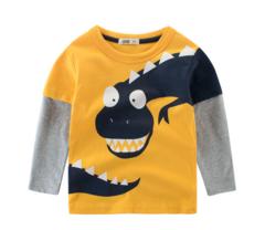Children's clothing new 2019 spring boy T-shirt wholesale dinosaur baby shirt children's shirt yellow 90cm
