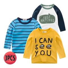 3PCS Shirts Boys bottoming shirt baby long-sleeved T-shirt children's shirt 1 90cm