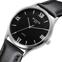 High Quality Luxury Ultra-thin Watch Simple Business Retro Classic Men And Women Leather Strap Watch 1 one size