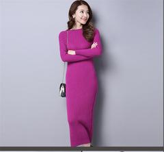 Women Warm Knitted Slim Long Dresses Fashion Elastic O-neck Sweater DressesSexy Bodycon Robe Dress 1 M