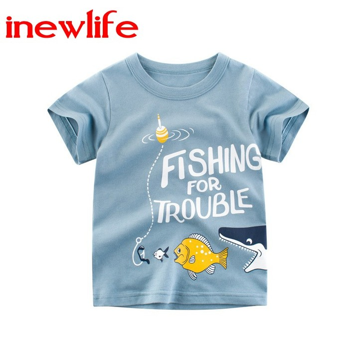 2019 Summer new design short sleeves for little boys and girls 100% cotton tshirt baby Kids Clothing 1 90cm 100% cotton