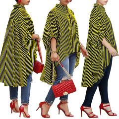 New fashion big size long skirt woman dress women's shirt stripe print long style cardigan yellow one size