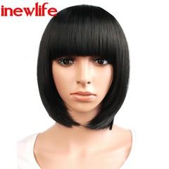 New Fashion Synthetic Bob Wigs Wave Black Hair Wigs Women Wigs Hair Straight 12inch business OL black 12inch