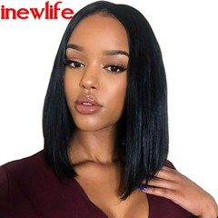 Fashionable Lady Black Short Straight Hair In Cent Bang BoBo Wigs Head Set black 40cm