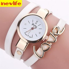 Love watch crystal bracelet watch women watches gold watch leather strap quartz watch woman watch milk white one size