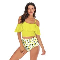 new arrival woman bikini Ruffled multicolor printed bikini high waist lotus leaf bikini yellow s