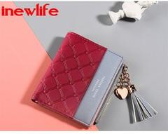 New arrival Tassels Zipper&Hasp women wallet card holder cash holder Lady Small Purse Short Solid red 11*9*1cm