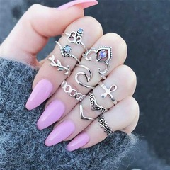 Bohemia Vintage Crystal Geometric Ring Set for Lady Opal Resin Knuckle Finger Midi Ring Jewelry a as picture