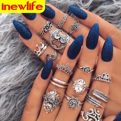16Pcs/set Women Bohemian Vintage Crown Wave Crystal Opal Joint Ring Party Silver Ring Set silver as picture
