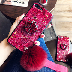 New OPPO R17 Epoxy Mobile Phone Case A3 Hair Ball Anti-fall Soft Shell R17P Airbag Bracket Cover red For OPPO A3(is A5 here)