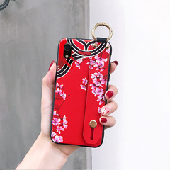 silicon soft cover For OPPO R9S  A57 A59 A37 A83 F9 A3 A73 A7Fashion Flower Lanyard Stand Phone Case c1 for r17