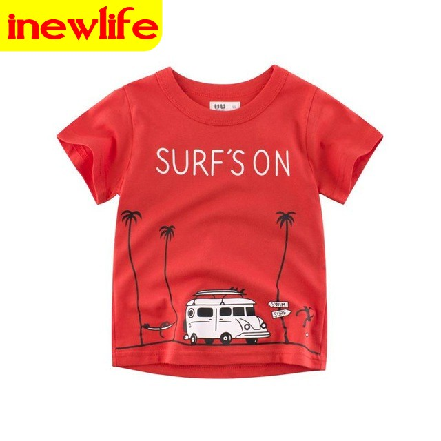 2-9Year Shark Print Baby Boys Girls Short Sleeve T Shirt Children Kids Short Sleeves Clothes Cotton 1 90cm 100% cotton