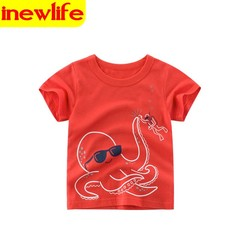 Summer clothing Boys T-Shirt Kids Shirt Boy Kids T-Shirts for Children Girls Cotton Baby boy clothes red 90cm 100% cotton