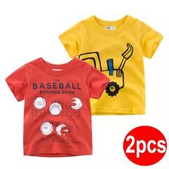 2019 Summer children clothing new style tshirt 2pcs /set for little boy short-sleeved T-shirt 1 90cm cotton