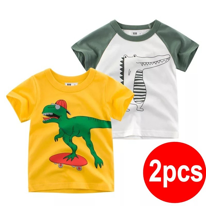 2019 Summer children clothing new style tshirt 2pcs /set for little boy short-sleeved T-shirt 2 90cm cotton