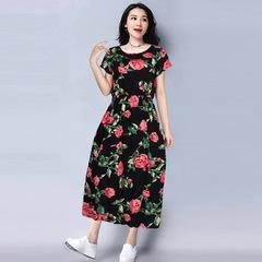 Cotton silk dress women's summer dress beach skirt middle-aged mother cotton silk floral skirt one size 1