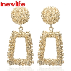 women Big Vintage Earrings gold Geometric statement earring metal earing Hanging fashion jewellery gold as picture