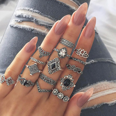 15Pcs/set Bohemian Retro Crystal Flower Leaves Hollow Lotus Gem Silver Ring Set Women Love Gift silver as picture
