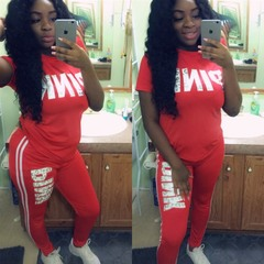 New arrival Pink Letter Print Tracksuits Women Two Piece Set t-shirt Tops&Jogger Set 2pcs Outfits red S