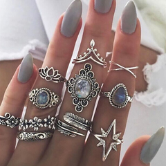 NEW 11pcs Women rings set Flowers Leaves Water Drop Stars Crystals Gem Joint Ring Lady Silver Rings silver as picture