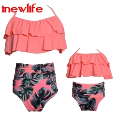 2019 trend new parent-child swimsuit printing high waist bikini ruffle mother and daughter swimsuit as picture for mom s