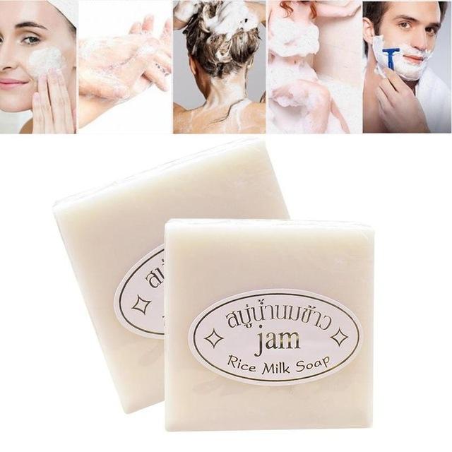 2pcs/set Thailand Rice Milk Soap Handmade Soap Whitening Soap Collagen Vitamin Skin Care Facial soap Rice milk soap x2
