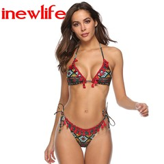 2019 New Design woman swimsuits new style bikini good quality printing tassel triangle strap bikini as picture show s