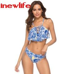 Sexy Push Up Swimsuit Women Print Swimwear Bikini Set mujer 2019 Beachwear as picture show s