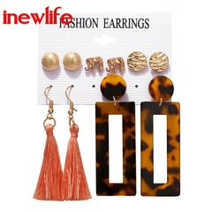 2019 Bohemian Gold Flower Long Earring Fashion Wedding Jewelry New Design Tassel Stud Earrings Set a as picture