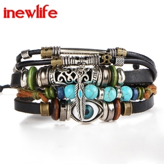Punk Design Turkish Eye Bracelets For Men Woman New Fashion Wristband Female Owl Leather Bracelet a as picture