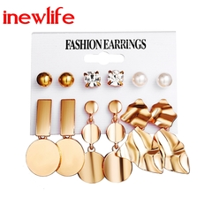 2019 new designs Metal Element Disc Irregular Geometric Metal Stud Earrings 6 Pieces Set earrings gold as picture show
