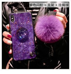Samsung Galaxy M30 A10 A20 A30 marbled 3D shiny diamond stand fashion hair ball lanyard cover case purple M10