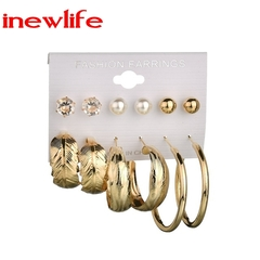 6Pairs/set Rhinestone Crystal Simulated Pearl Earrings Set Gold Color Leaves Hoop Earrings jewelry gold as picture show