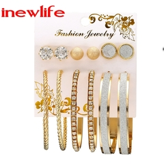 6Pairs/Set Earrings Women Jewelry Fashion earrings Rhinestone & Pearl Earrings set fashion Jewellery gold as picture show