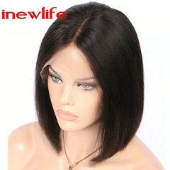 Lace Front Human Hair Wigs Bob Wig Full and Thick For Black Women Natural Color Brazilian Remy Hair natural hair black color 14inch