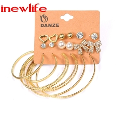 9Pairs/Set Earrings Jewelry Earring Fashion Woman Earrings Big Circle Earring Rhinestone Earring gold as picture show
