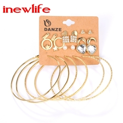 European and American Fashion Earrings Large Circle Earrings 12pairs/set Geometric Earrings Set gold as picture show
