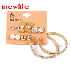 6Pairs/set Earrings Fashion Rhinestone Earrings Large Hoop Earrings Bows Pearl Stud Earrings Set gold as picture show