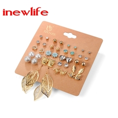 20 Pairs/set Charm Crystals Stud Earrings Women Jewellry Pearls Flowers Earrings Metal Balls Jewelry gold&silver as picture show