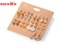New arrival 20 Pairs/Set Charming Crystals Stud Earrings Set Woman Pearls Earrings Balls Jewelry gold&silver as picture show