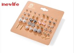 Popular 20pairs/set earrings pearls earrings woman jewellry gold silver jewellery gold as picture show