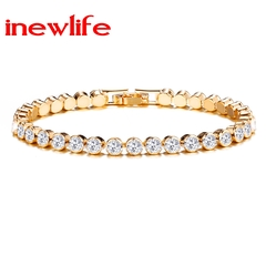 New Arrival Diamond Single Row Bracelet Roman Crystal Diamond BraceletCrystal silver bracelet gold as picture show