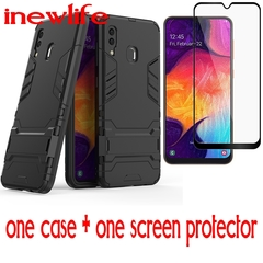 (1-Pack])one Samsung A20 / Samsung A30 Phone Case + (Full Cover Tempered Glass])one Screen Protector black For Samsung A10
