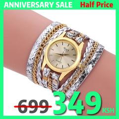 Fashion woman watch Quartz Watches Geneva Bracelet Wristwatch Multi Layers Leather Strap Watch 5 one size
